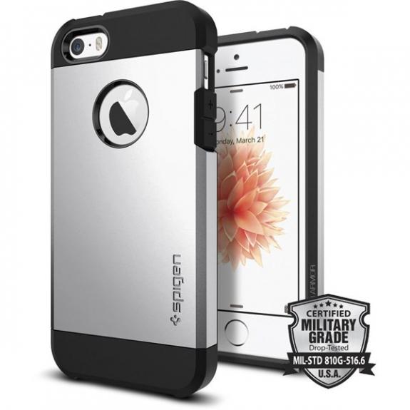 Spigen Armor odolný tenký kryt pro Apple iPhone SE / 5S - stříbrný 041CS20251 - možnost vrátit zboží ZDARMA do 30ti dní