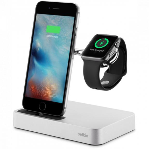 Belkin Valet nabíječka s integrovaným nabíjením pro Apple Watch a iPhone - stříbrná F8J183vfSLV - možnost vrátit zboží ZDARMA do 30ti dní