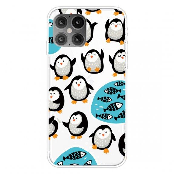AppleKing měkký transparentní kryt pro iPhone 12 mini - tučňáci na rybách - možnost vrátit zboží ZDARMA do 30ti dní