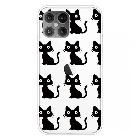 AppleKing měkký transparentní kryt pro iPhone 12 / 12 Pro - černé kočky - možnost vrátit zboží ZDARMA do 30ti dní