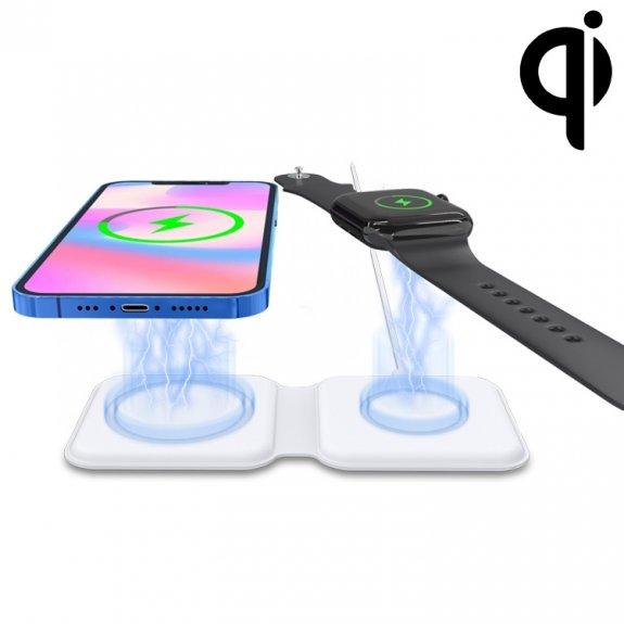 AppleKing skládací duální podložka pro bezdrátové nabíjení iPhone / Apple Watch / AirPods - bílá - možnost vrátit zboží ZDARMA do 30ti dní
