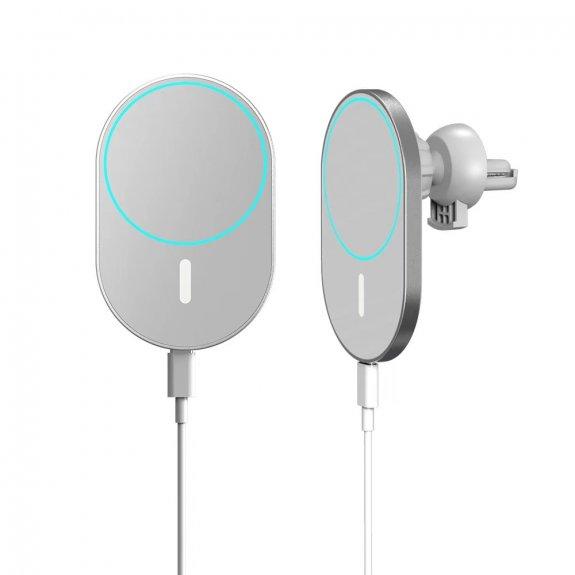AppleKing magnetický držák na ventilační mřížku auta s bezdrátovým nabíjením pro iPhone 12 / 12 Pro / 12 mini / 12 Pro Max - bílý - možnost vrátit zboží ZDARMA do 30ti dní