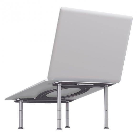 R-JUST variabilní hliníkový stojan na MacBook na čtyřech nohách - stříbrný - možnost vrátit zboží ZDARMA do 30ti dní