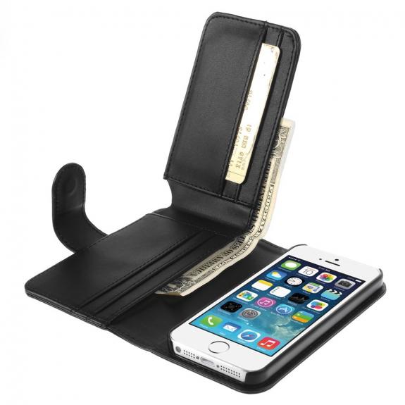 AppleKing kožené pouzdro se sloty na karty pro Apple iPhone 5 / 5S / SE - černé - možnost vrátit zboží ZDARMA do 30ti dní