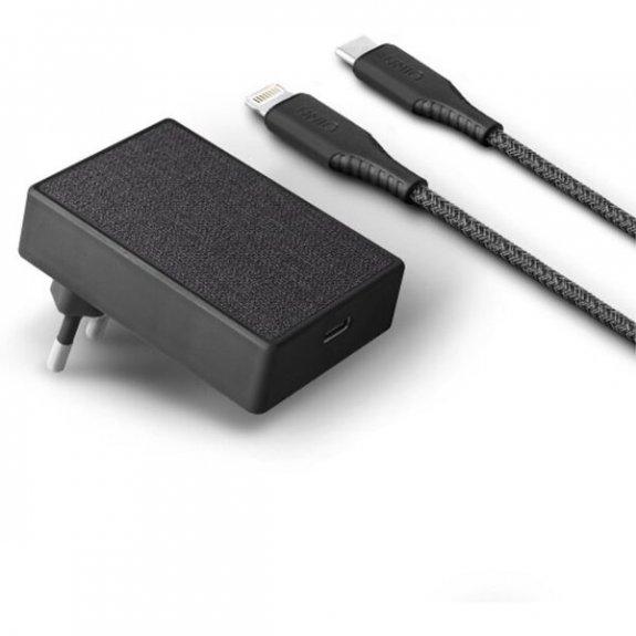 Uniq Votre Slim Kit 18W nabíječka s portem USB-C (PD) + lightning kabel - černá 8886463671337 - možn