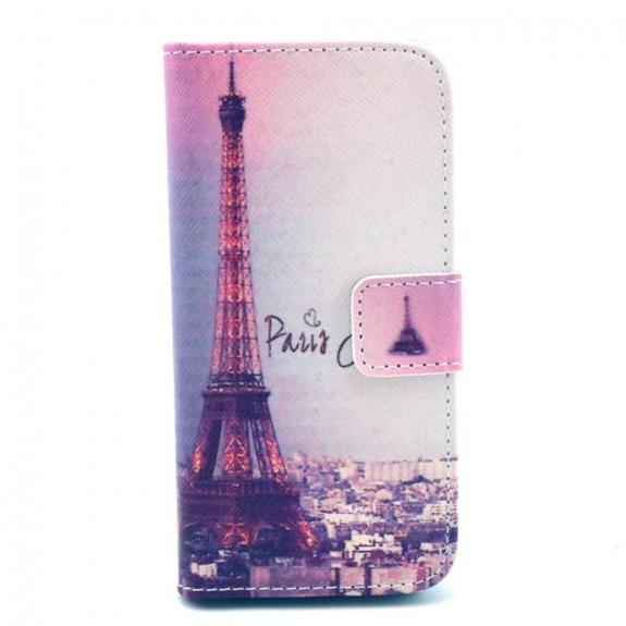 AppleKing peněženkové pouzdro se stojánkem a sloty na karty pro Apple iPhone 5 / 5S / SE - Paříž a Eiffelovka - možnost vrátit zboží ZDARMA do 30ti dní