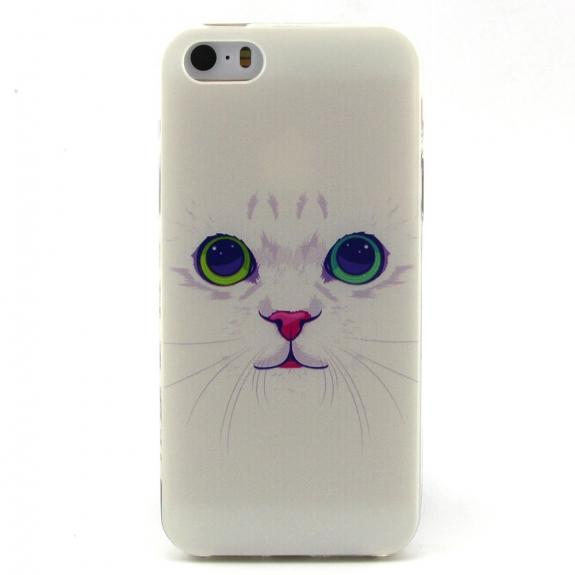 AppleKing pouzdro pro Apple iPhone 5 / 5S / SE - Bílá kočka - možnost vrátit zboží ZDARMA do 30ti dní