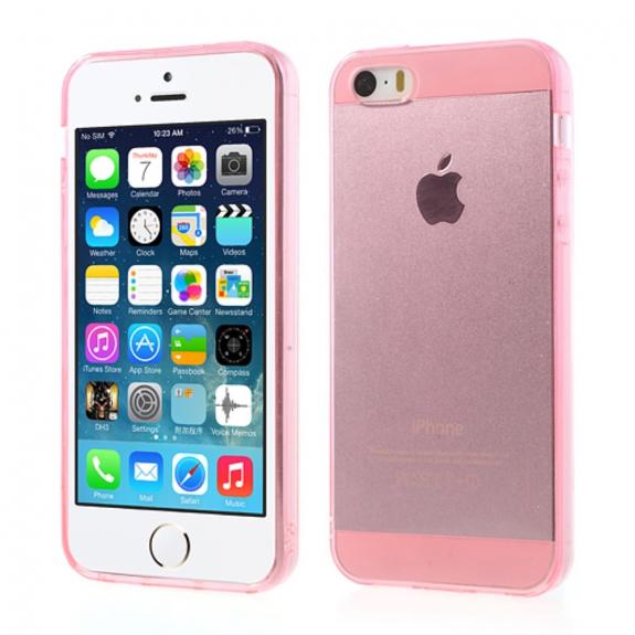 Průhledný obal pro Apple iPhone S5 / 5S / SE - růžový