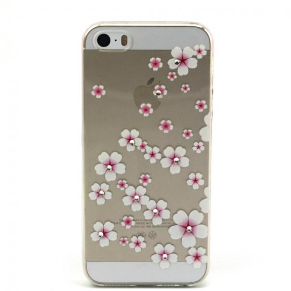 AppleKing kryt s diamantovým reliéfem na Apple iPhone 5 / 5S / SE - Květinový vzor - možnost vrátit zboží ZDARMA do 30ti dní