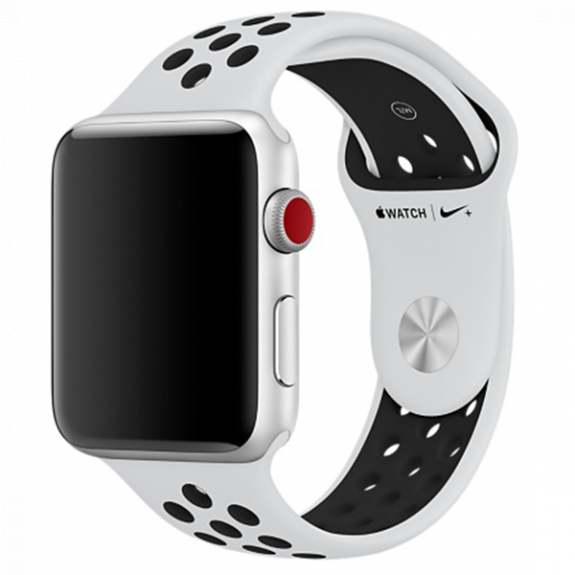 Originální sportovní Nike+ řemínek pro Apple Watch 44mm / Watch 42mm - platinový/černý MQWQ2ZM/A - možnost vrátit zboží ZDARMA do 30ti dní