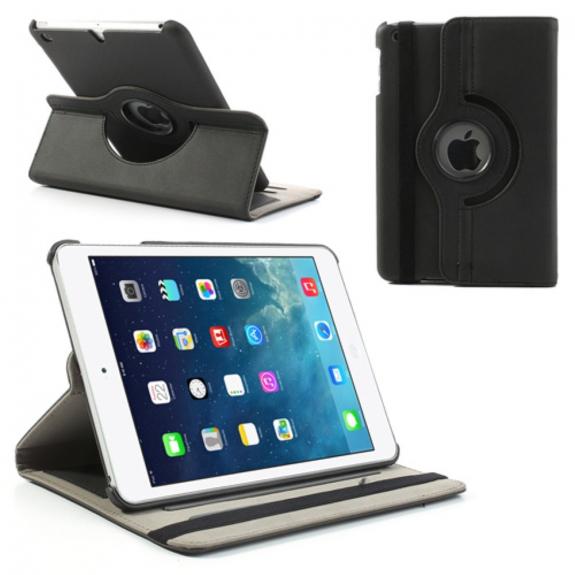 AppleKing Černé kožené pouzdro s otáčením a sloty na karty pro Apple iPad mini 1. / 2. / 3. gen - možnost vrátit zboží ZDARMA do 30ti dní