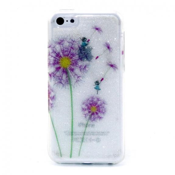 Lesklý kryt na Apple iPhone 5C - bílý s fialovou pampeliškou