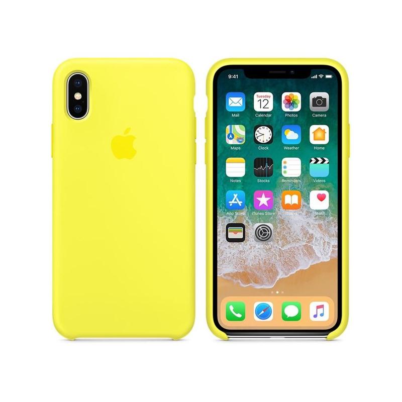 Originální silikonový kryt pro Apple iPhone XS   iPhone X - zářivě žlutý ... 7157c451edb