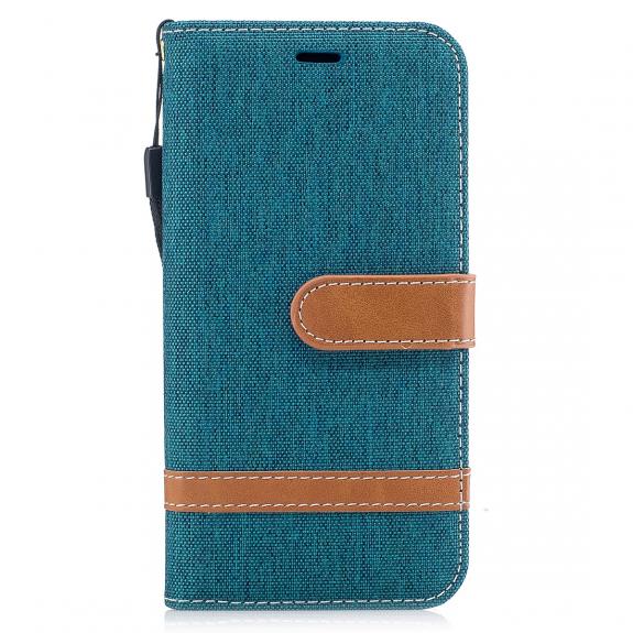 AppleKing luxusní denim / riflový obal na iPhone XS / iPhone X s prostorem na doklady a karty - zelený - možnost vrátit zboží ZDARMA do 30ti dní