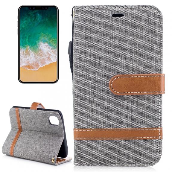 AppleKing luxusní denim / riflový obal na iPhone XS / iPhone X s prostorem na doklady a karty - šedý - možnost vrátit zboží ZDARMA do 30ti dní