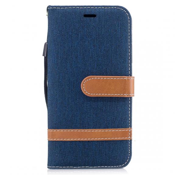 AppleKing luxusní denim / riflový obal na iPhone XS / iPhone X s prostorem na doklady a karty - modrý - možnost vrátit zboží ZDARMA do 30ti dní