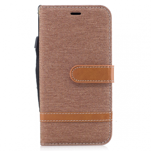 AppleKing luxusní denim / riflový obal na iPhone XS / iPhone X s prostorem na doklady a karty - hnědý - možnost vrátit zboží ZDARMA do 30ti dní