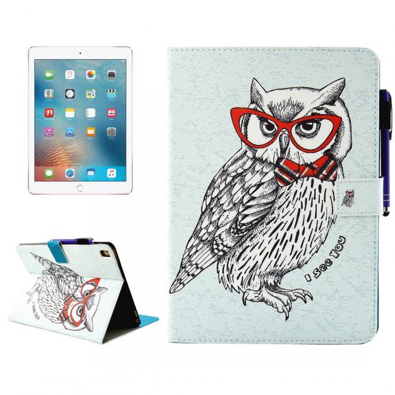 """AppleKing pouzdro se stojánkem, přihrádkami na doklady a apple pencil pro iPad Pro 9.7"""" / iPad Air 2 - sova s brýlemi - možnost vrátit zboží ZDARMA do 30ti dní"""