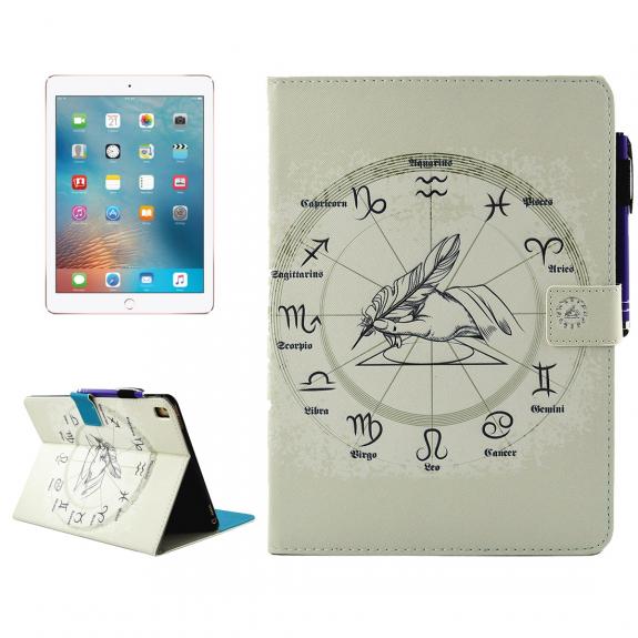 """AppleKing pouzdro se stojánkem, přihrádkami na doklady a apple pencil pro iPad Pro 9.7"""" / iPad Air 2 - zvěrokruh - možnost vrátit zboží ZDARMA do 30ti dní"""