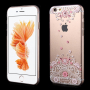 KINGXBAR plastový kryt na Apple iPhone 6 / 6S - růžový s květinami Swarovski