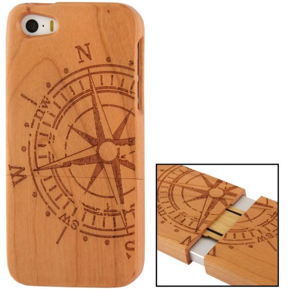 AppleKing dřevěný kryt pro Apple iPhone 5   5S - kompas - možnost vrátit  zboží ZDARMA fd30d97634f