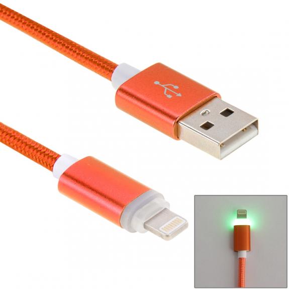 WOVEN nabíjecí a synchronizační kabel s lightning konektorem a světelnou indikací pro Apple iPhone - 1m - oranžový - možnost vrátit zboží ZDARMA do 30ti dní