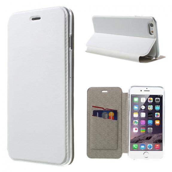 Otevírací / flip kožené pouzdro pro Apple iPhone 6 / 6S - bílé