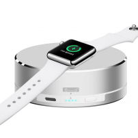 3 v 1 powerbanka, nabíjecí stojánek a ochranné pouzdro na kabel pro Apple Watch - stříbrná