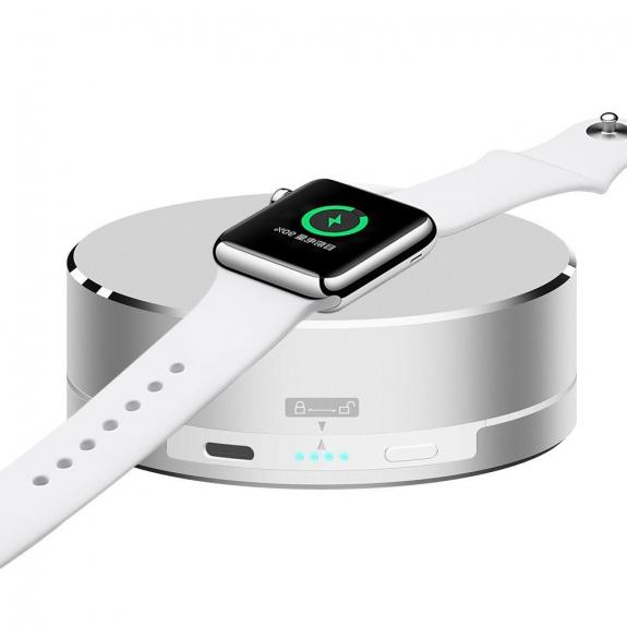 AppleKing 3 v 1 powerbanka, nabíjecí stojánek a ochranné pouzdro na kabel pro Apple Watch - stříbrná - možnost vrátit zboží ZDARMA do 30ti dní