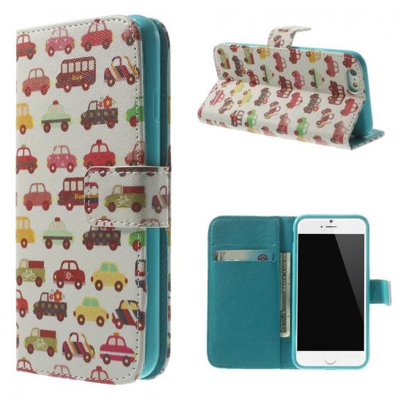 AppleKing peněženkové pouzdro se sloty na karty pro Apple iPhone 6 / 6S - Auta a autobusy - možnost vrátit zboží ZDARMA do 30ti dní