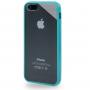 Ochranný průhledný plastový kryt s rámečkem pro iPhone 5 / 5S / SE - tyrkysový