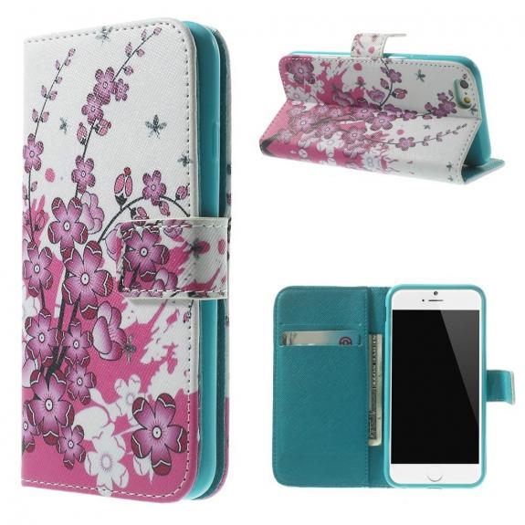 AppleKing peněženkové pouzdro se stojánkem a sloty na karty pro Apple iPhone 6 / 6S - Rozkvetlá švestka - možnost vrátit zboží ZDARMA do 30ti dní