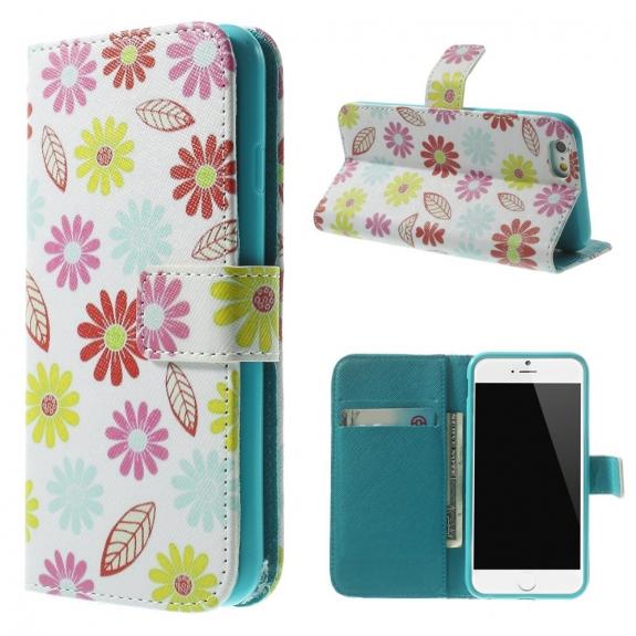 AppleKing peněženkové pouzdro se stojánkem a sloty na karty pro Apple iPhone 6 / 6S - Květinový vzor - možnost vrátit zboží ZDARMA do 30ti dní
