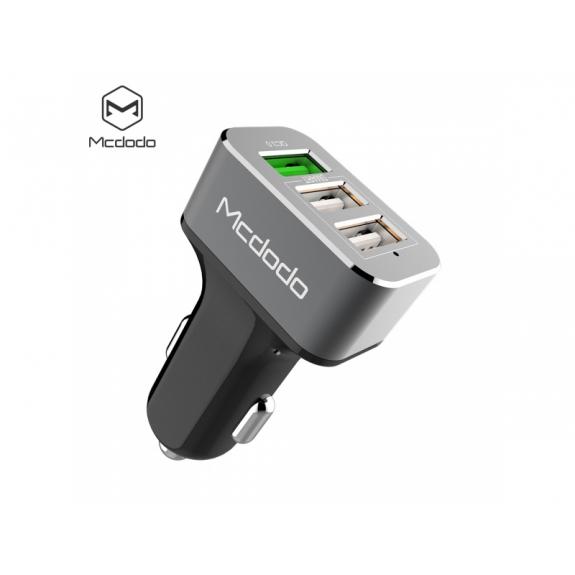 MCDODO nabíječka do auta se dvěma běžnými porty a jedním rychlonabíjecím (3.4A) pro Apple iPhone / iPad / iPad - šedá - možnost vrátit zboží ZDARMA do 30ti dní