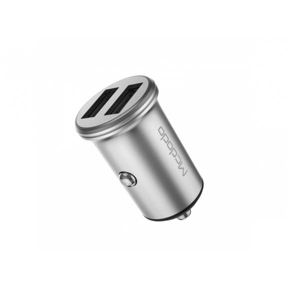 MCDODO nabíječka do auta se dvěma USB porty pro Apple iPhone / iPad / iPod - stříbrná - možnost vrátit zboží ZDARMA do 30ti dní