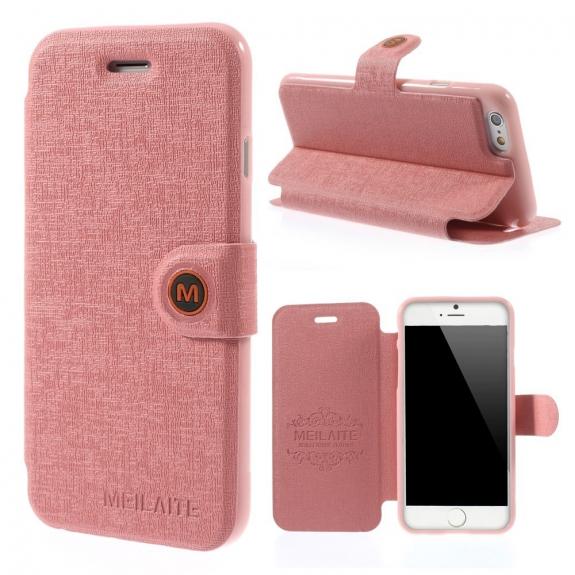 MEILAITE kožené pouzdro s magnetickým klipem pro Apple iPhone 6 / 6S - růžové - možnost vrátit zboží ZDARMA do 30ti dní