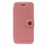 MEILAITE kožené pouzdro s magnetickým klipem pro Apple iPhone 6 / 6S - růžové