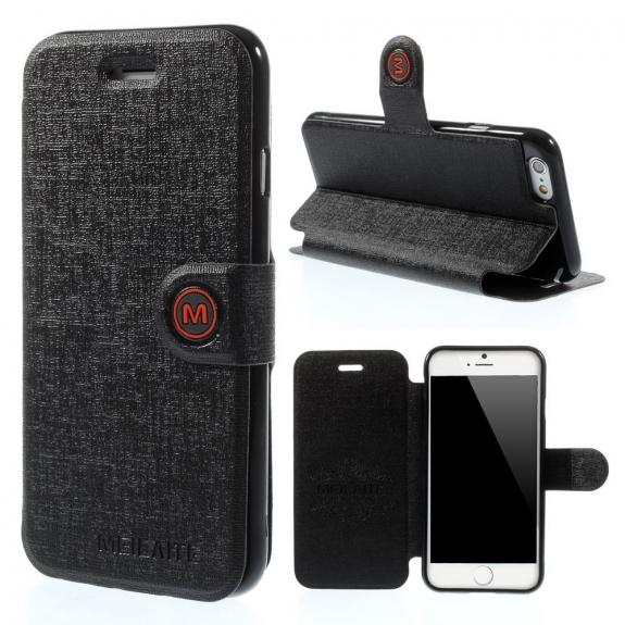 MEILAITE kožené pouzdro s magnetickým klipem pro Apple iPhone 6 / 6S - černé - možnost vrátit zboží ZDARMA do 30ti dní