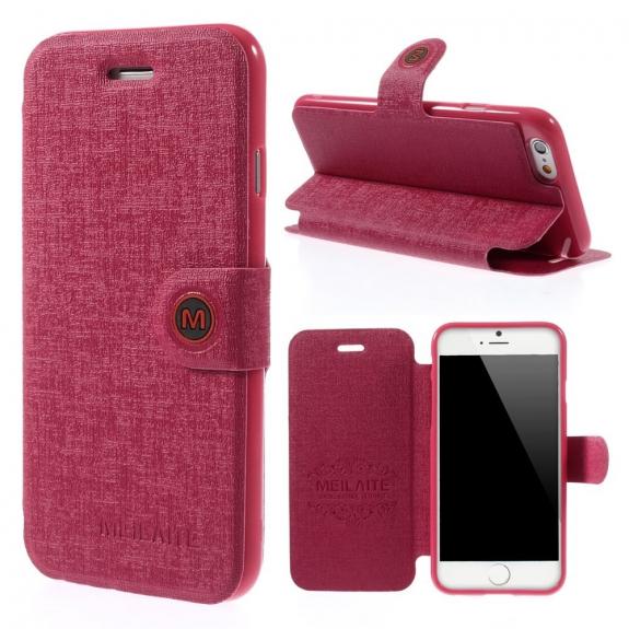 MEILAITE kožené pouzdro s magnetickým klipem pro Apple iPhone 6 / 6S - rose - možnost vrátit zboží ZDARMA do 30ti dní