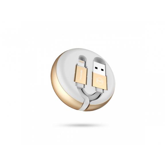 MCDODO USB samo-navíjecí kabel s lightning konektorem pro Apple iPhone / iPad / iPod - 12cm - bílý - možnost vrátit zboží ZDARMA do 30ti dní