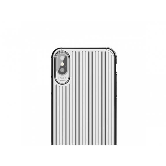 MCDODO ochranný kryt s plastickým vzorem pro Apple iPhone XS / iPhone X - stříbrný - možnost vrátit zboží ZDARMA do 30ti dní