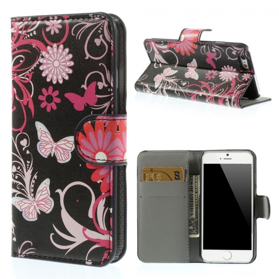 AppleKing otevírací pouzdro se sloty na karty pro Apple iPhone 6 /6S - motýli a květiny - možnost vrátit zboží ZDARMA do 30ti dní