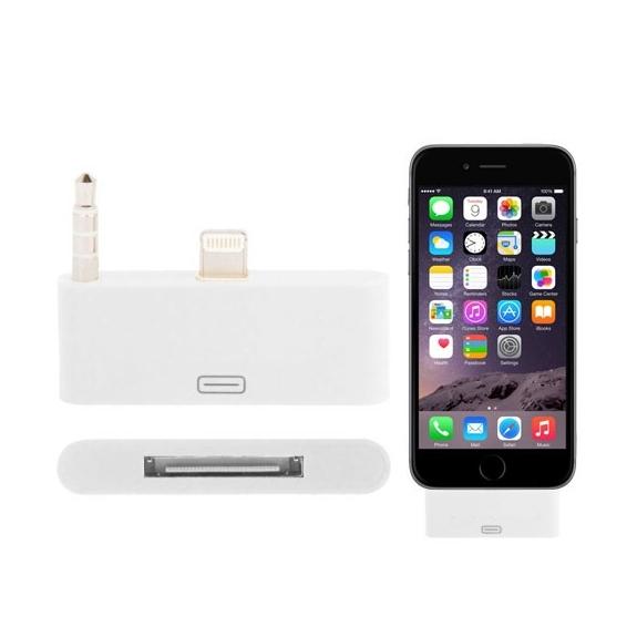 Redukce / adaptér 30pin konektor na lightning s audio 3.5mm jack konektorem pro iPhone 6 Plus / 6S Plus - bílá