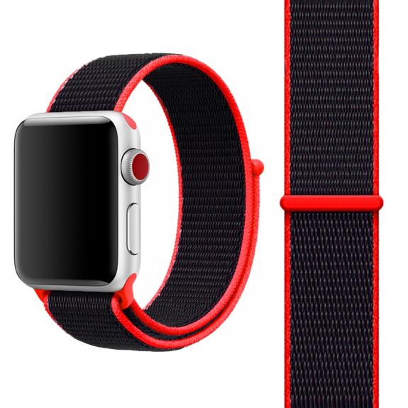AppleKing nylonový řemínek se zapínáním na suchý zip pro Apple Watch 3 / 2 / 1 - 42mm - červ