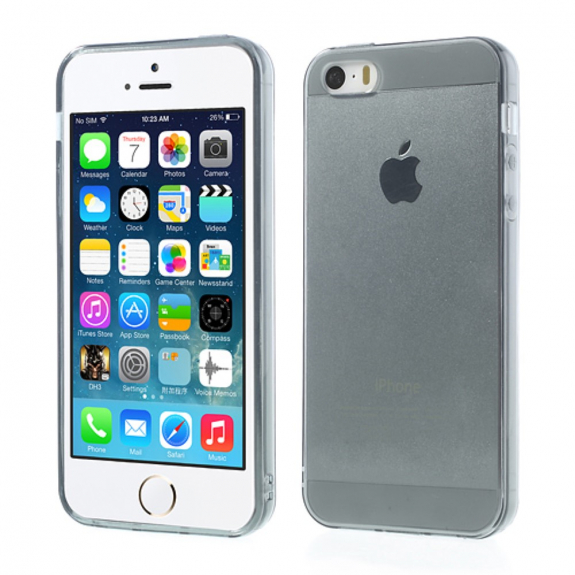 AppleKing průhledný obal pro Apple iPhone S5 / 5S / SE - šedý - možnost vrátit zboží ZDARMA do 30ti dní