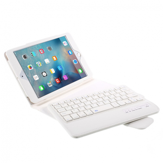 AppleKing ochranný kryt / pouzdro s Bluetooth klávesnicí pro Apple iPad Mini 4 - bílé - možnost vrátit zboží ZDARMA do 30ti dní