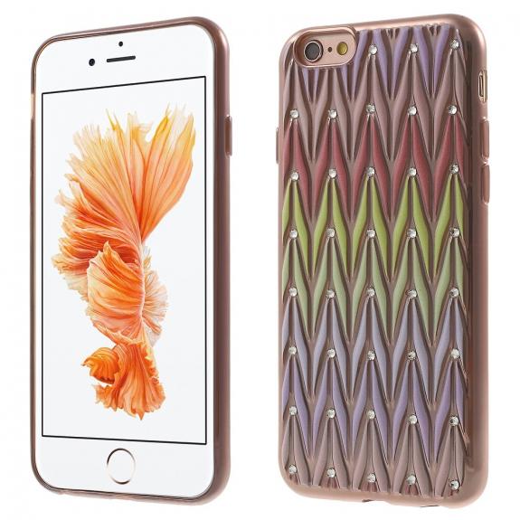 Ochranný kryt s designem drahokamů pro Apple iPhone 6 / 6S - červeno-zlatý