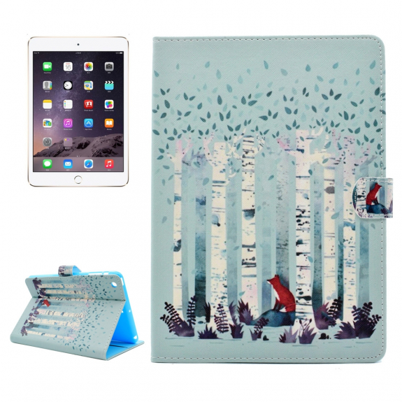 AppleKing ochranné flip pouzdro s integrovaným stojánkem a prostorem na doklady pro Apple iPad mini 3 / 2 / 1 - liška mezi břízami - možnost vrátit zboží ZDARMA do 30ti dní
