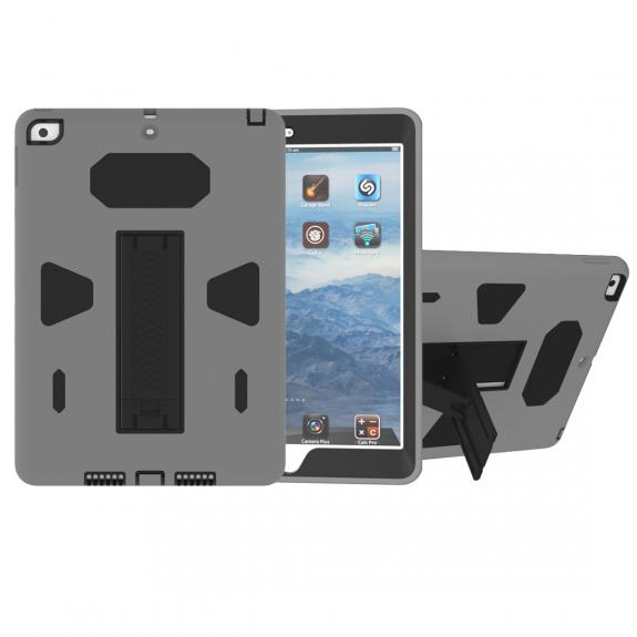 """AppleKing odolné pouzdro se stojánkem pro iPad 9,7"""" (2017/2018) / Air - černé / šedé - možnost vrátit zboží ZDARMA do 30ti dní"""