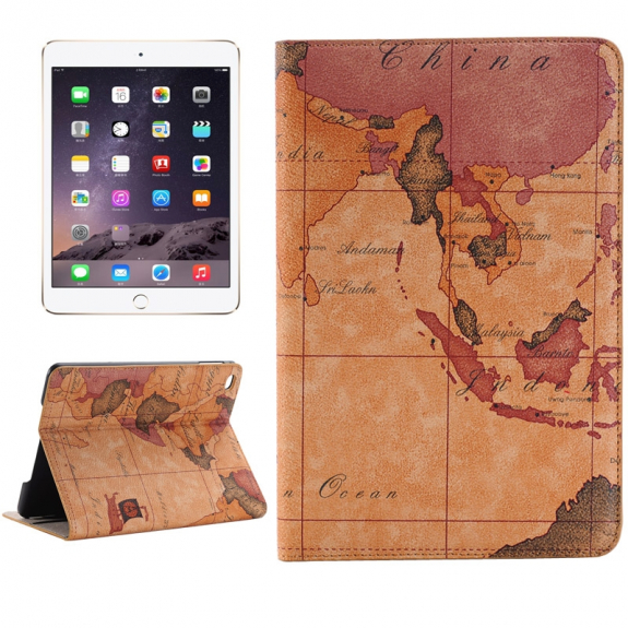 AppleKing ochranné pouzdro se stojánkem a prostorem na doklady pro Apple iPad Mini 4 se vzorem staré mapy - možnost vrátit zboží ZDARMA do 30ti dní